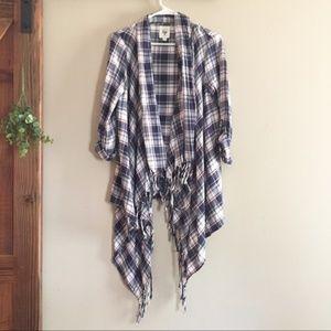 Billabong Plaid Tassel Kimono Top